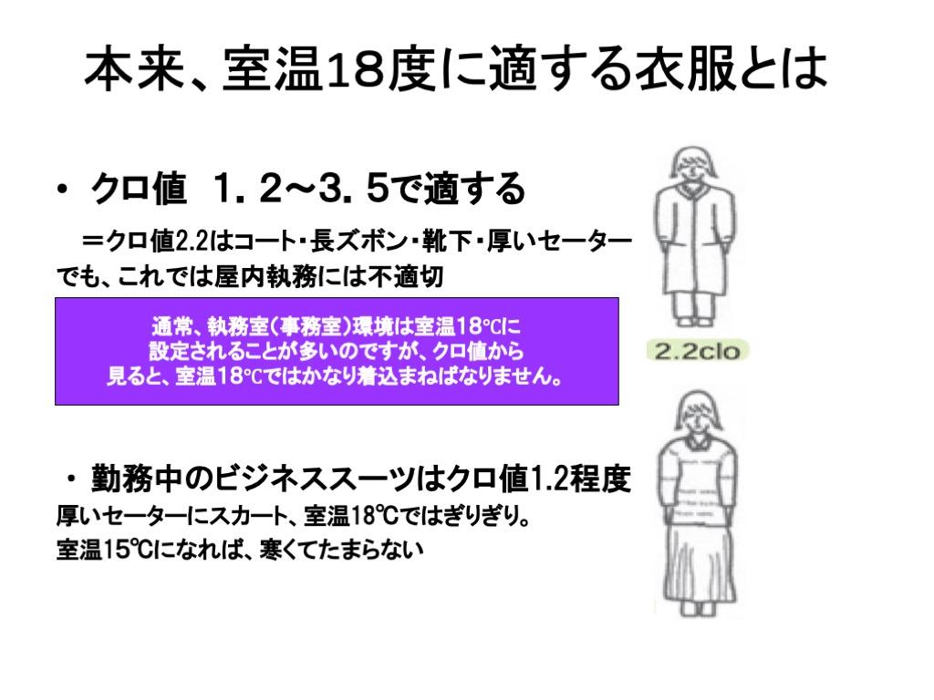 本来、室温18度に適する衣服とは