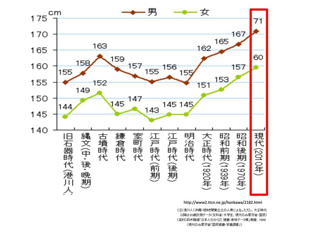 男女平均身長の推移
